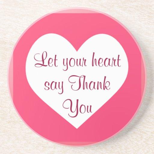heart Thank You coaster
