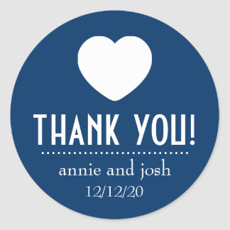 Heart Thank You Labels (Dark Blue) Round Sticker