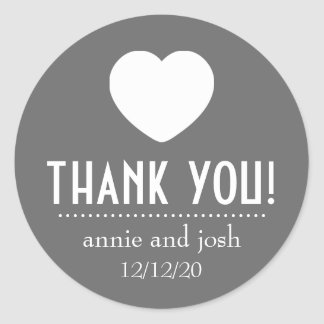 Heart Thank You Labels Gray Stickers