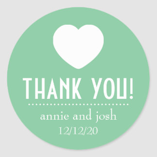Heart Thank You Labels (Mint Green) Round Sticker