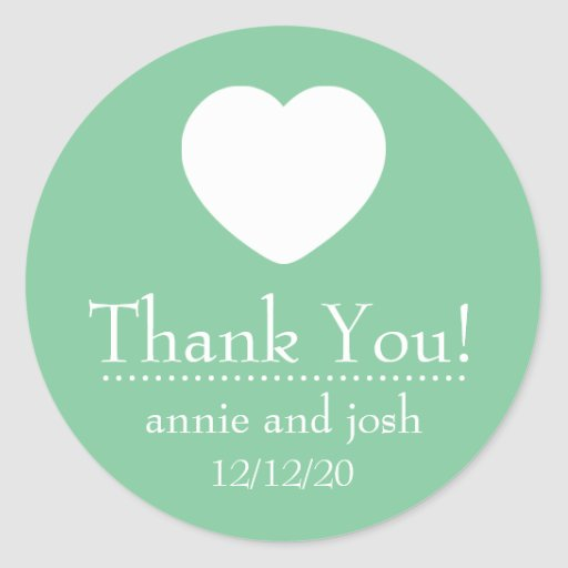 Heart Thank You Labels (Mint Green) Stickers