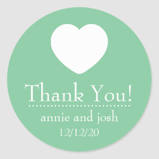 Heart Thank You Labels Mint Green Stickers