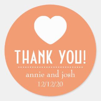 Heart Thank You Labels Orange Round Sticker