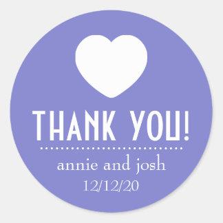 Heart Thank You Labels (Plum Purple) Round Sticker