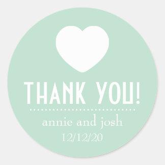 Heart Thank You Labels (Sage Green) Round Sticker