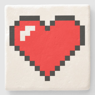 Heart Thief 8 Bit Pixel Art - Funny Geeky Gamer Stone Coaster