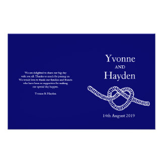 Heart tie the knot dark blue wedding programs 14 cm x 21.5 cm flyer