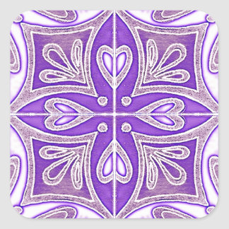 Heart Tiles Inspired Portuguese Azulejos Lavender Square Sticker