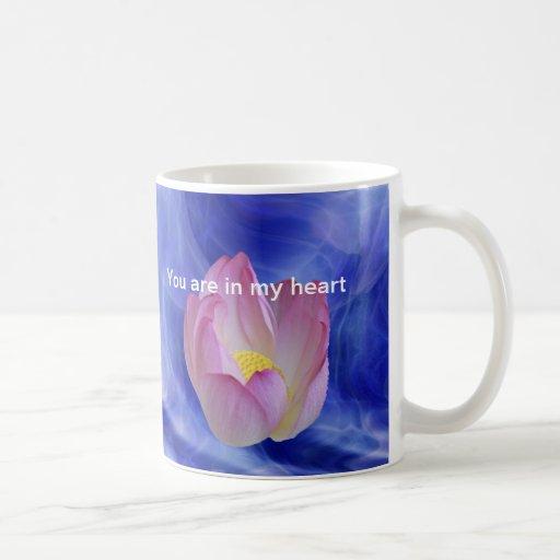 Heart to heart lotus flower coffee mug