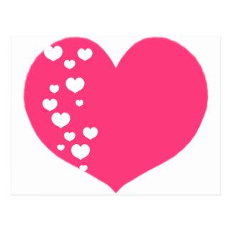 Heart Tracks Pink Clear Postcard