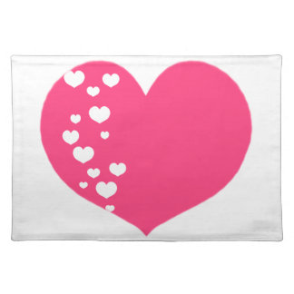 Heart Tracks Pink White Placemat