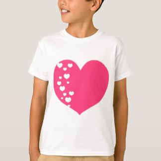 Heart Tracks Pink White T-Shirt