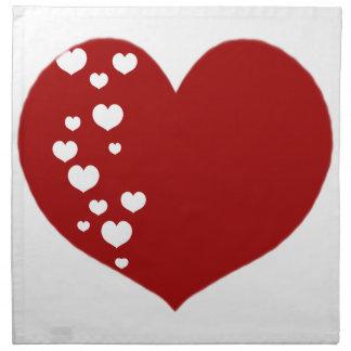 Heart Tracks Red White Napkin