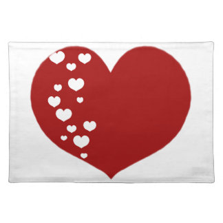 Heart Tracks Red White Placemat
