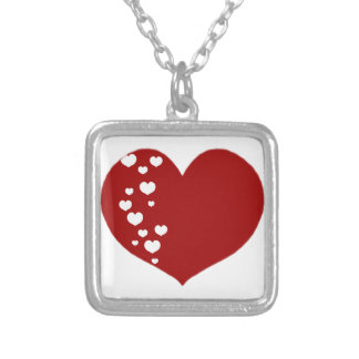 Heart Tracks Red White Silver Plated Necklace