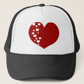 Heart Tracks Red White Trucker Hat