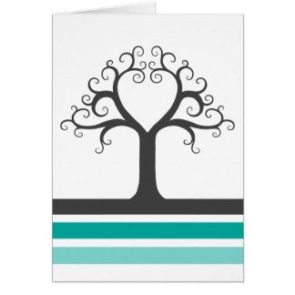 Heart tree and teal aqua blue gray stripes elegant note card