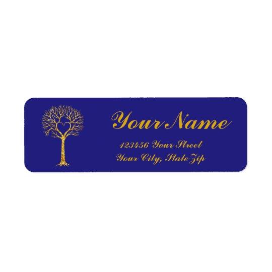 Heart Tree in Gold Glitter Return Address Label