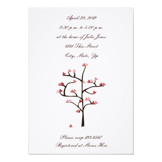 Heart Tree Wedding Shower Invitation