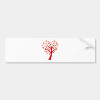 Heart tree with love birds for wedding invitation bumper stickers