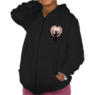 Heart Tree With Two Birds Girls Hoodie