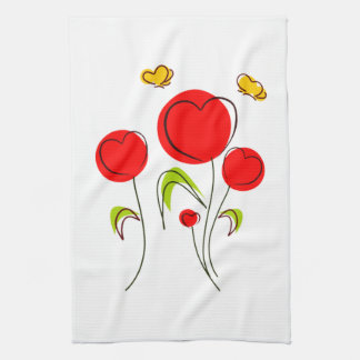 Heart Tulips Kitchen Towel