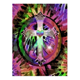Heart Tye Dye Cross Postcard