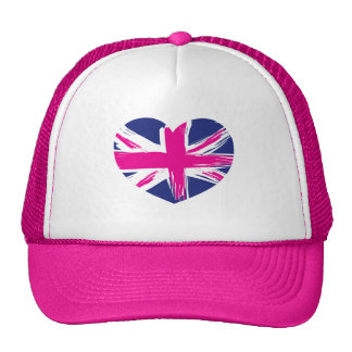 Heart Union Jack Flag Cap/Hat Cap