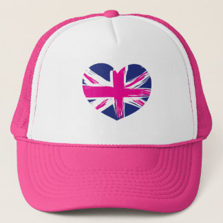 Heart Union Jack Flag Cap/Hat Trucker Hat
