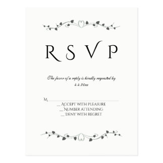 Heart vines wedding rsvp postcards