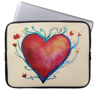 Heart Watercolor Art Neoprene Laptop Sleeve 15""