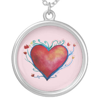 Heart WatercolorLarge Silver Plated Round Necklace