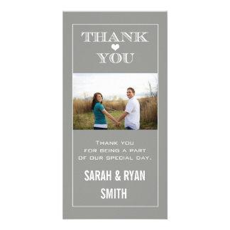 Heart Wedding Grey Thank You Photo Cards