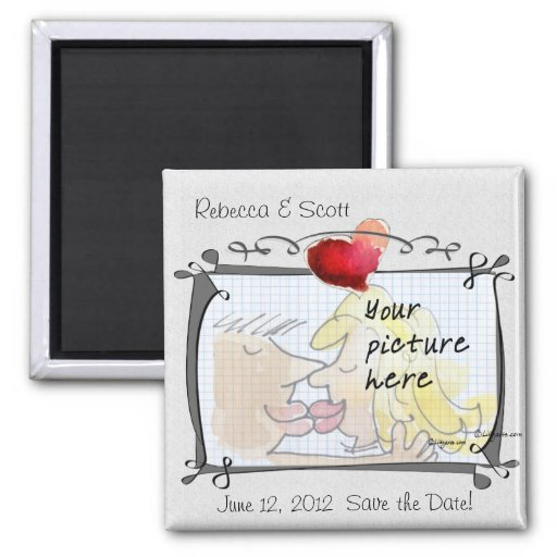 Heart Wedding Save the Date Photo Magnets Fridge Magnets