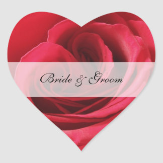 Heart Wedding Sticker with Red Rose
