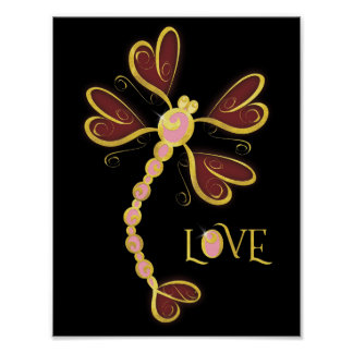 "Heart-winged Dragonfly ""Love"" gold pretty design Poster"