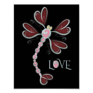 "Heart-winged Dragonfly ""Love"" silver pretty design Poster"