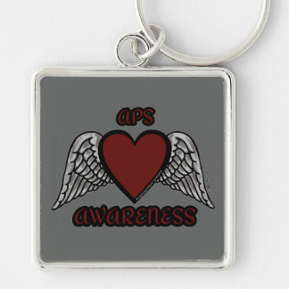 Heart/Wings...APS Silver-Colored Square Key Ring