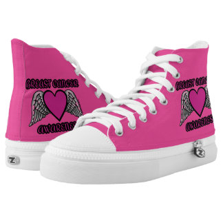 Heart/Wings...Breast Cancer High Tops