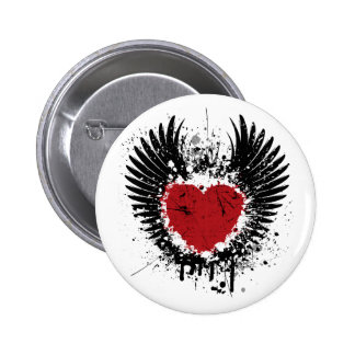 Heart & Wings Grunge Background  Round Buttons