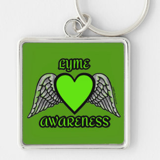 Heart/Wings...Lyme Silver-Colored Square Key Ring