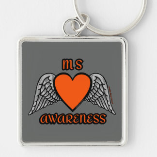 Heart/Wings...MS Silver-Colored Square Key Ring