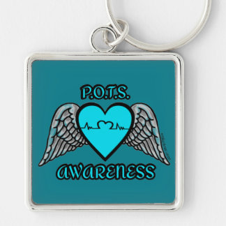 Heart/Wings...P.O.T.S. Silver-Colored Square Key Ring