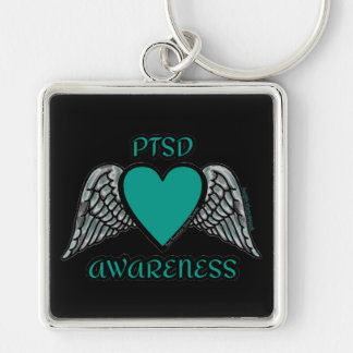Heart/Wings...PTSD Silver-Colored Square Key Ring