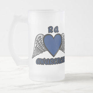 Heart/Wings...RA Frosted Glass Beer Mug