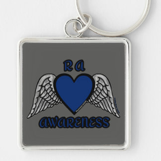Heart/Wings...RA Silver-Colored Square Key Ring