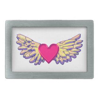 heart Wings Rectangular Belt Buckle