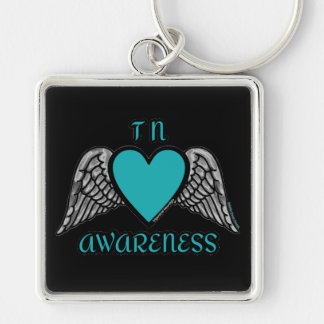 Heart/Wings...TN Silver-Colored Square Key Ring