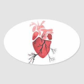 Heart With Branches Oval Sticker