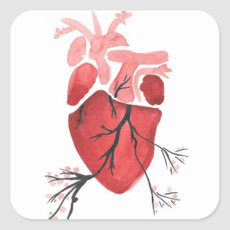 Heart With Branches Square Sticker